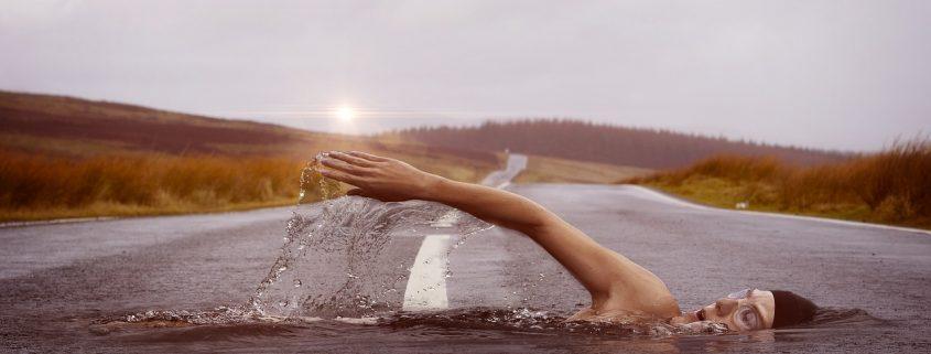 Swimmer on lane