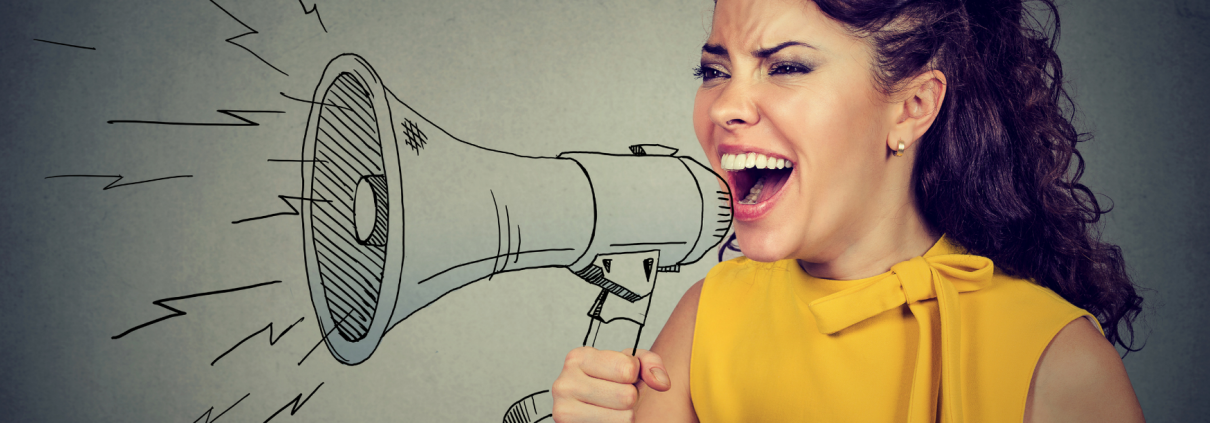 Image from Canva of a woman with dark hair wearing a yellow sleeveless top speaking into a line drawing of a megaphone
